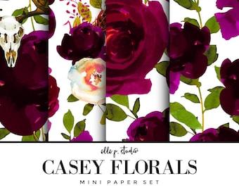 Casey Floral Digital Paper Set / Digital Scrapbook Paper / Illustrated Paper / Fashion Paper / Wallpaper/Backdrop