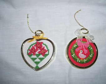 Poinsettias In Basket Goose Christmas Wreath Cross Stitch Framed Ornaments Wall Hangings
