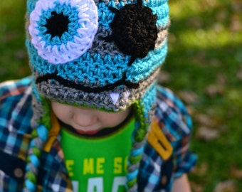 Monster Earflap Hat - sizes baby to kids - Pick your colors!