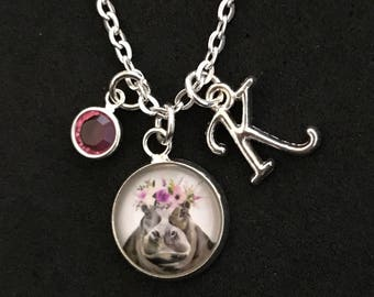 Personalized Hippo Necklace Hippo Jewelry