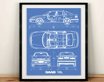 Saab 9-5 Blueprint, Saab Decor, Blue print Art, Instant Download, Saab Art, Blueprint art, Saab Decor, Saab 9-5, 5x7, 8x10, 11x14""