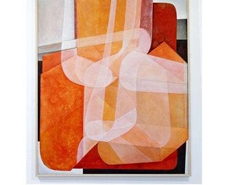 Mid Century Modern Abstract Carl Angevine Acrylic Painting Detroit Artist 1970s