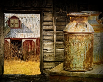 Rustic Milk Cans, Creamery Can, Red Barn, Dairy Farm, Still Life Photograph, Farm Art, Rural Landscape, Country Scene, Barn Window, Fine Art