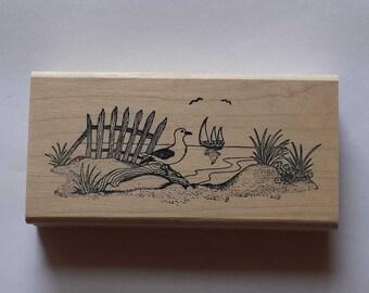 Sea Gull Scene Rubber Stamp - 128M03