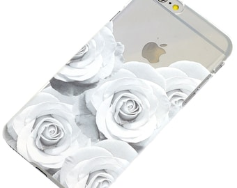 Black and White Roses Floral iPhone Case,Transparent Clear Phone Case iPhone 6, iPhone 7, iphone 5, iphone 6 plus, iphone 7 plus, iphone SE