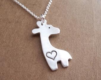 Silver Giraffe Heart Necklace, Giraffe Love, Fine Silver, Sterling Silver Chain, Made To Order
