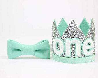 Baby Boy Birthday Party Hat   First Birthday Glitter Crown   1st Birthday Hat   Silver + Mint ONE