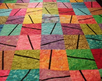Queen Quilt Handmade Rainbow Batik Color Block Quiltsy