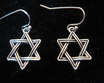 Antiqued Silver Star of David Dangle Earrings