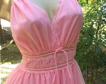 Goodbye Rain Sale Gorgeous 1950's Vintage Pandora Cotton Candy Pink Chiffon Nightgown