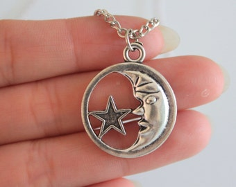 Moon star necklace - moon necklace - moon and star charm - Moon star
