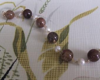 14KGF Rutilated Quartz & Pearl Bracelet