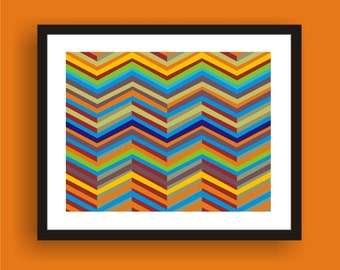 Summer Heat  -  Mid Century Modern Art Original Print  by C Wiedenheft comes with a white mat and ready to frame.