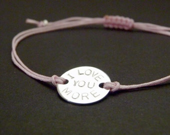 I love you more bracelet, I love you most, small gift idea for her or him, girlfriend jewelry under 30