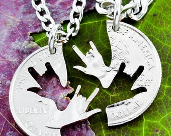 Best Friend Necklaces, Sign Language Jewelry, ASL I love you, Deaf,  I love You Hands Interlocking Puzzle Necklaces