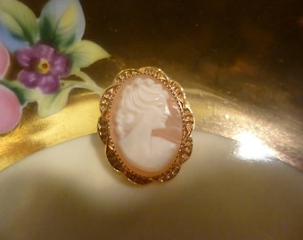 Carved Shell Cameo Pin