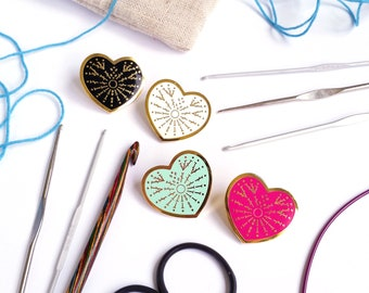 LAST CHANCE - Crafty at Heart - Crochet Knitting Sewing Hard Enamel Pin - Pink, Blue, White, Black, and Gold - Lapel Pin Cloisonné Badge