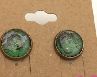 Recycled Comic Book inspired Earrings Hulk Avengers