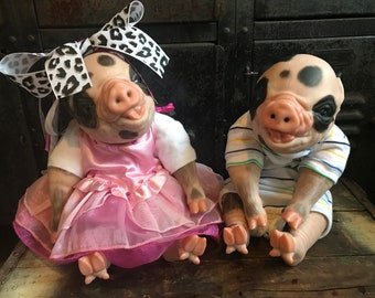 Reborn Pig TWINS Sheldon and Penny Reborn pig dolls
