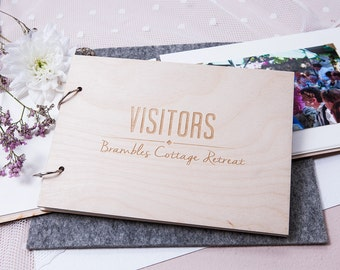 Personalised Visitor Guest Book - House Warming Gift - Hotel Visitors Book - Guest Book for Hotel - Wooden Guest Book - Custom Guest Book