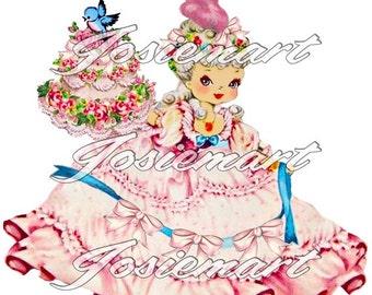 Vintage Digital Download Marie Antoinette Girl Vintage Image Collage Large JPG PNG Clipart