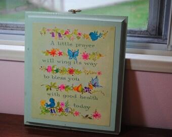 A Little Prayer Plaque Vintage 70's Decor/Child's Room Decor