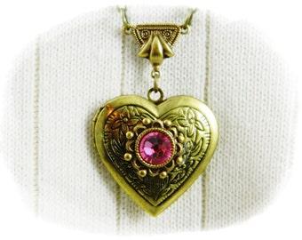 Locket, Necklace, Heart Locket, Heart Necklace, Antique Brass Locket, Pink Locket, Pink Necklace