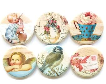 Vintage Magnets, Age of Innocence Magnets, Fridge Magnets, Retro Beauty, Gift for Her, Refrigerator Magnets, Office, Home, Dorm, Set of 6