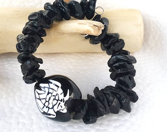 Black Tektite Jewelry, Tektite Meaning is Good Luck, Matte Black Bracelet Meaning for Root Chakra, Meteorite Tektite Stone with Turtle Seed