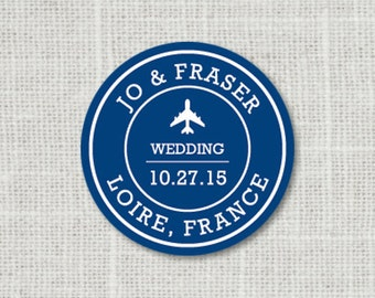 Custom Save the Date Label, Destination Wedding Stickers, Air Plane Save the Date Stickers
