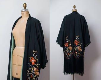 1920s Kimono Robe / 20s Fringed & Embroidered Jacket