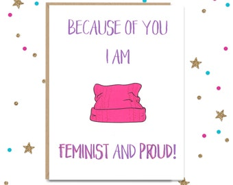 Fathers Day Card, Mothers Day Card, Dad Birthday Card, Mom Birthday Card, Feminist Card, Women's March, Card for Mom, Card for Dad, Protest