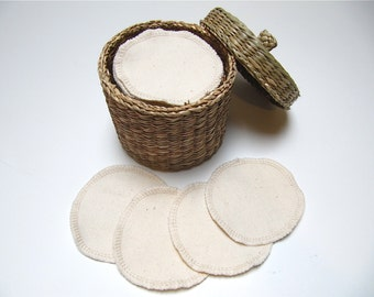 LARGE Organic Reusable Facial Rounds, Organic Cosmetic Rounds, Makeup Remover Pads, Eco-Friendly Face Scrubbies, Set of 10 or 20