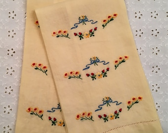 Vintage Towel Set - Embroidered Tea Towels - Flowers and Hemstitching - Yellow Red Blue Green Flowers