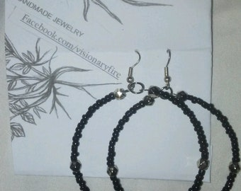 Bali Hoop earrings made with black glass and silver beads