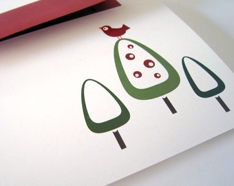 Holiday Cards / Christmas Cards - Set of 8 - Modern Red Bird