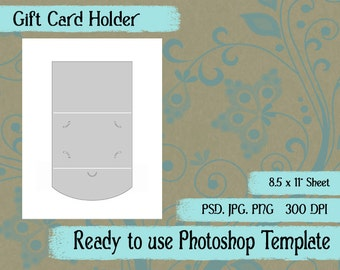 Scrapbook Digital Collage Photoshop Template, Gift Card Holder Template