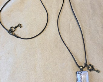 Vintage Look Antique Lace Pendant On Leather Necklace with Two Keys