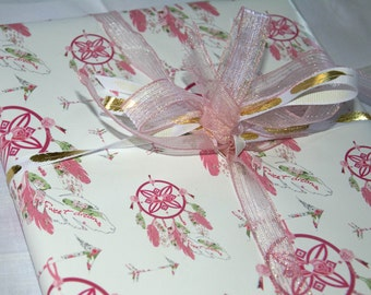 Gift Wrap 6 foot rolls of Shabby Chic Sweet Dreams Dream Catcher paper