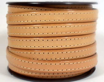 10mm Flat Side Stitched Leather - Natural - Choose Your Length