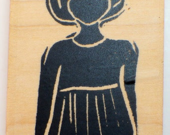 Stampington And Co Wooden Rubber Stamp Hand Carved Marie-Clair Woman Girl