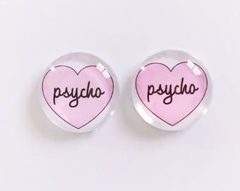 The 'Psycho' Glass Earring Studs