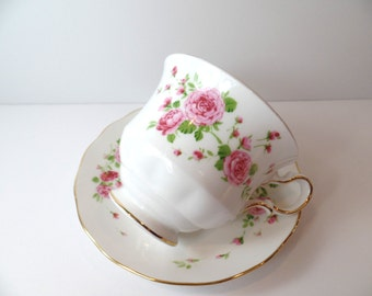 Vintage Avon Pink Roses Teacup & Saucer - Teacup - Avon - Bone China - Vintage - Kitchen - Teacup And Saucer - Tea Cup - Floral Teacup