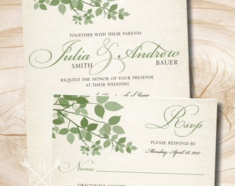 Rustic Leaves Wedding Invitation and Response Card Invitation Suite
