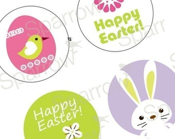 Exciting Cute Easter Images - 1.313 Inch (33mm) Digital Collage Printable Sheet For Badges and Buttons - Instant Download - Buy 2 Get 1 Free