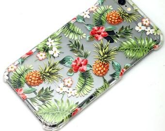 Pineapple Tropical Floral Hawaiian, iPhone Case, Transparent, Clear Phone Case, iPhone 6, iphone 7, iphone 6 plus, iphone 7 plus, iphone 5