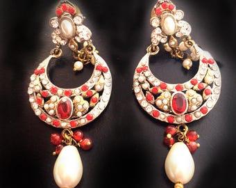 Red Gold earrings-Bridal Pearl Earrings-Victorian earrings-wedding earrings- handmade bridesmaids gift by TANEESI XE235R