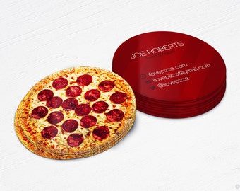 Mini Pizza Business Cards - Realistic - Circular Cards - Design and Printing - 250, 500, 1000, 2500 | FREE Shipping |