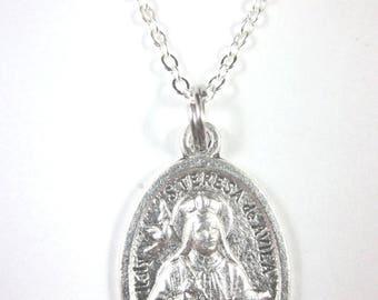 """St Teresa of Avila Medal Italy Pendant Necklace 20"""" Chain Gift Box & Prayer Card"""