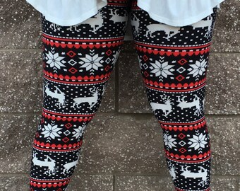 Black and Red Reindeer Leggings